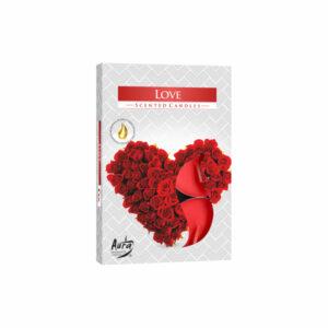 Świeczki Tealight Bispol podgrzewacze zapachowe Love 6 sztuk